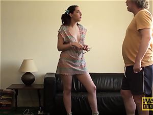 English slave super-bitch punished and facialized by rough dom