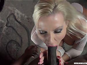 sloppy platinum-blonde babe fellates knocker jerks smashes humungous dark-hued sausage