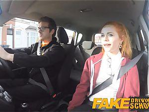 fake Driving school nice redhead Ella Hughes plumbs