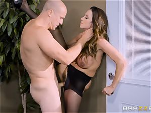 Office huge-chested honey Ariella Ferrera takes gigantic man meat