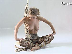 Anka the nudist showcasing her talent