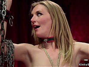buxom dominatrix makes subs rectal drill