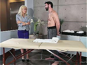 Married ash-blonde cutie getting super-naughty by a muscled massagist