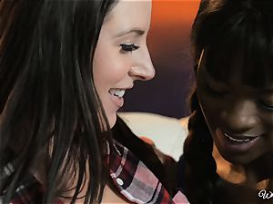 Ana Foxxx and Angela milky luvs interracial girl/girl act