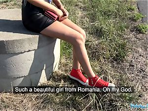 Public Agent juicy shaved Romanian cooch gets creampied