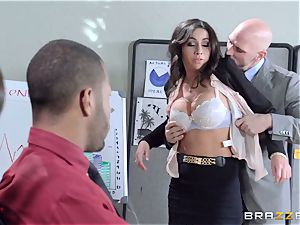 new girl Stephani Moretti filled with jizz at work