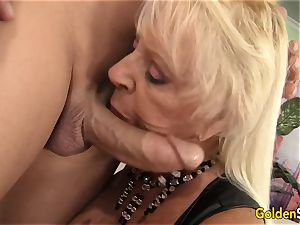 Floppy jugged grannie smashes a shaved boy