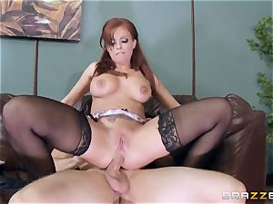 red-haired manager Britney Amber pokes a crazy employee
