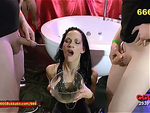 bony black-haired extraordinary piss paramour - 666Bukkake