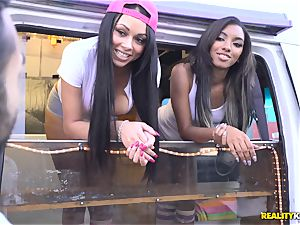 Raven Wylde and Bethany Benz facial in ice testicle tonic truck get gash pummeled