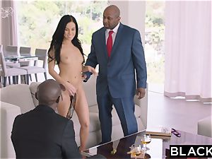 BLACKED steamy Megan Rain Gets DP'd By Her Sugar father and His buddy
