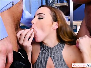 Natasha uber-cute toying with two boners