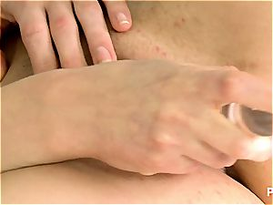 Kristine wedges a dildo in her raw cootchie