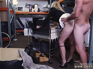 Tall brown-haired yam-sized melons cougar and nubile facial cumshot fountain steamy milf boinked At The PawnSHop