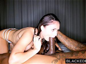 BLACKEDRAW ultra-kinky dark-haired wife likes black pecker in her motel apartment