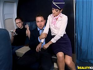Air hostess Lexy Rose takes a fuck-stick testicles deep on the vapid