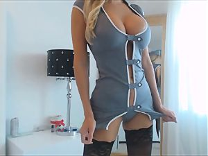 astounding mummy in Uniform With hefty udders Plays with her fuck stick