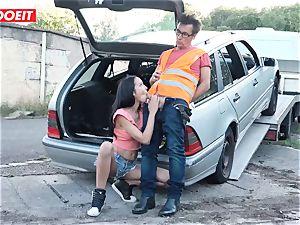 LETSDOEIT - nubile plows old guy For Free Car Repair