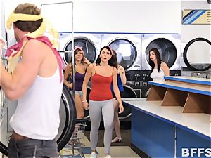 torrid chicks screw a solo fuck-stick in a laundrette