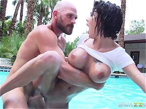 big-boobed Peta Jensen - filthy hook-up by the pool