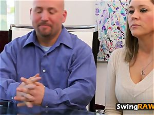 Swingers heated up with striptease flash