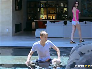 Monique Alexander takes it deep by the monster pecker of poolboy Danny D