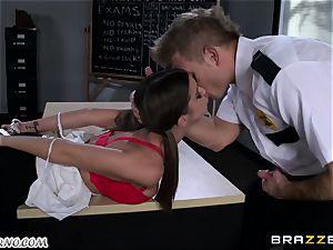 Policeman penalizes nasty schoolgirl on the table