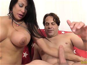 buxom Mature Sheila Marie Makes Him jizz on Her large baps