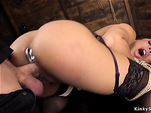 dark-hued takes large wood in the rump domination & submission