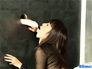 chinese bukkakke mega-bitch pussyrubbing at gloryhole