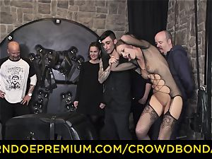 CROWD bondage - extreme bdsm shag wheel with Tina Kay