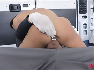 Christiana Cinn roped up in a van and butt-banged
