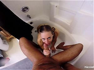 moist point of view bathroom orgy with Nicole Aniston