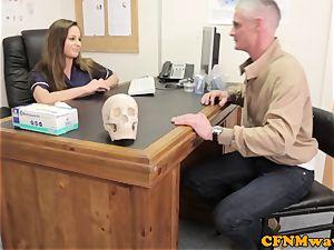 female dominance Cayenne Klien makes patient cum