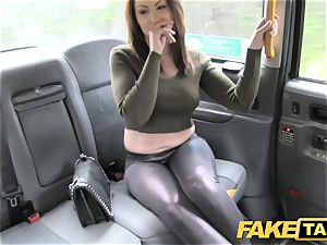 faux taxi super-fucking-hot Australian brown-haired in high-heeled slippers