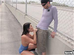 Adriana Chechik - Public booty-fucked and blasting under city bridge