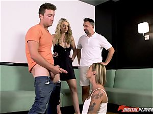 lesbos Kleio Valentien and her gf Keira Nicole tricked into gargling spunk-pump