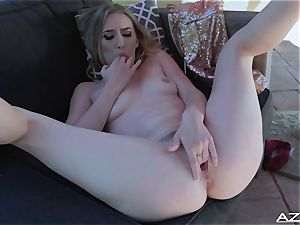 Riley Reyes fake penises her gentle beaver with a glass faux-cock