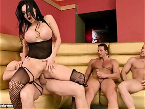 Aletta Ocean gets her cock-squeezing holes clogged with gigantic meatpoles antsy to cum
