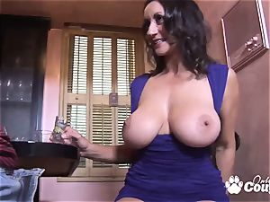 huge globes brunette milf tearing up a large trunk