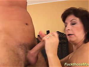 facial on huge-boobed fur covered mom
