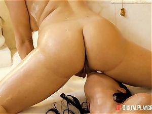super-steamy and humid lesbos Mila Marx and Carolina Sweets minge enjoyments in the bathtub