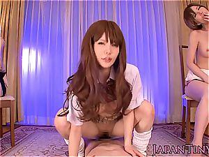 hot japanese gals taking turns on man