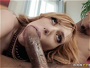 redhead slut with hairy cunny gets her back door spread by big black cock