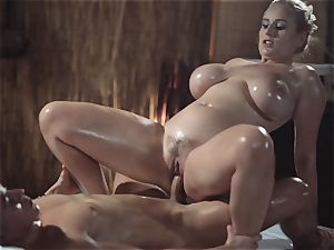 massage rooms luxurious milf with huge all-natural bra-stuffers