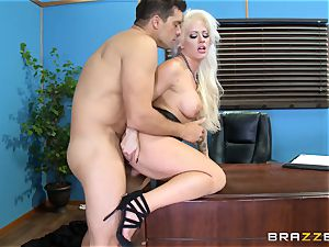 insane office gal Holly Heart banging across the office desk