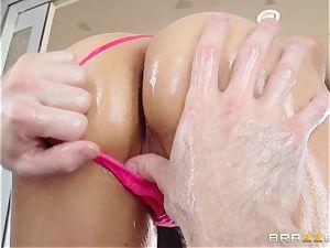 Sarah Vandella suffers an oily ass-fuck tearing up