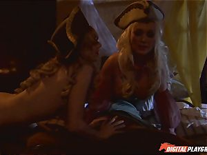 Pirate tucks his firm meat sword into Devon and Teagan Presley