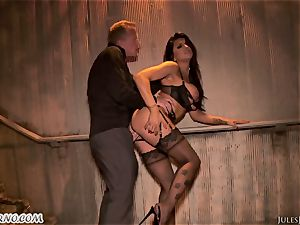 Romi Rain - awesome molten first-timer porn in the street