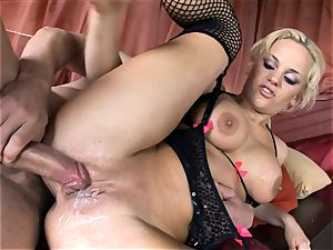 huge-titted Britney nailed in pantyhose and high stilettos